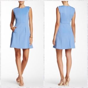 Vince Camuto Seamed Fit & Flare Crew Neck Dress